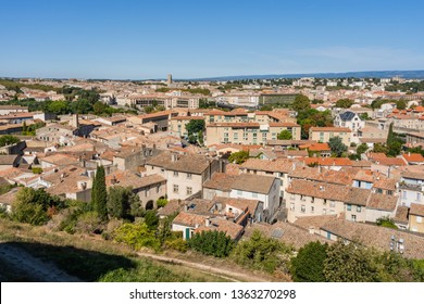 View from the top of the Cité fortress on the center of Carcassonne, Carcassonne, France