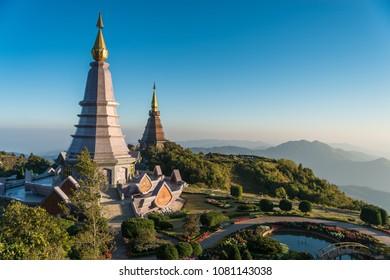 View from the top, gazing towards the Phramahathat Napamathanidol and Phramahathat Nopphol Bhumisiri on a bright sky day, Inthanon, Chaingmai Thailand