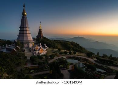 View from the top, gazing towards the Phramahathat Napamathanidol and Phramahathat Nopphol Bhumisiri before twilight, Inthanon, Chaingmai Thailand