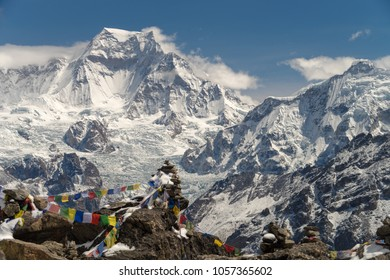 View from the top of Gokyo Ri with Buddhist flags of Wind Horse, East Nepal, the Himalayas