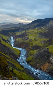 View from top of Haifoss waterfall on Iceland, overcast day