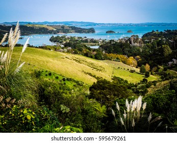 View from the top of Hill Road on Waiheke Island, New Zealand showing hills, vineyards, homes and the ocean in the distance.