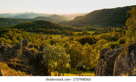 View from the top of (Holy vrch) hill during sunset. Spring scenery in Central Bohemian Highlands, Czech Republic