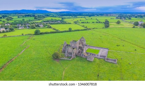 The view from the top of Hore of Abbey in a hill. Hore Abbey is a ruined Cistercian monastery near the Rock of Cashel County Tipperary Republic of Ireland in Ireland