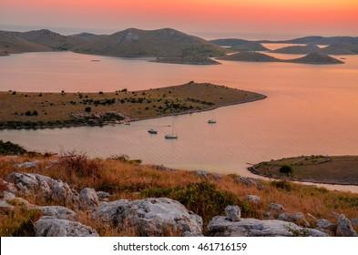 View from the top of the island in Kornati, Croatia