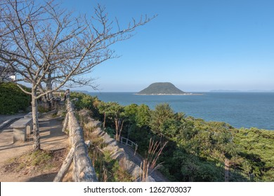 View from the top of Karatsu castle,sea and blue sky background, Saga, Kyushu, Japan