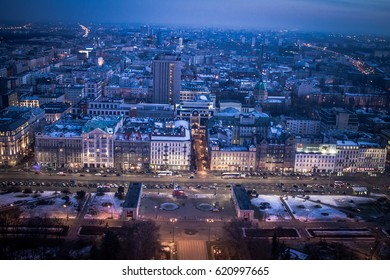 View top of Pa?ac Kultury i Nauki - Palace of Culture and Science Warsaw at night Poland