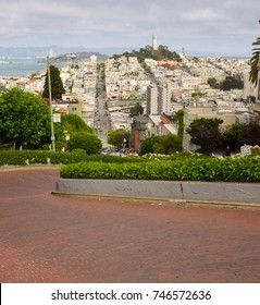 A view from the top of Lombard Street, San Francisco, California.