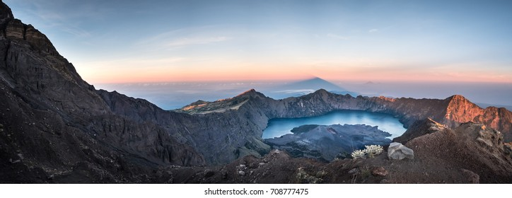 View from the top looking down to the lake in the middle of the mountain Rinjani, Lombok, Indonesia