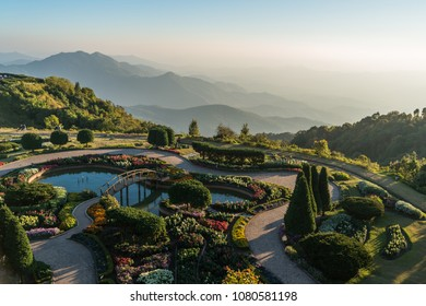 View from the top looking towards the garden at Phramahathat Napamathanidol and Phramahathat Nopphol Bhumisiri, Chaingmai Thailand