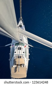 view from the top of the mast sailing yacht