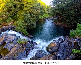 View from the top of Moro Waterfall (Cascade Moro) located in the south of Mauritius island