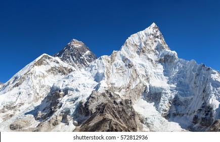 View of top of Mount Everest with clouds from Kala Patthar way to mount Everest base camp, khumbu valley - Nepal