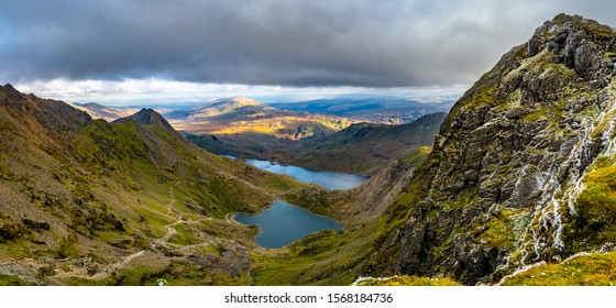 View from the top of Mount Snowdon, Snowdonia, North Wales, UK.