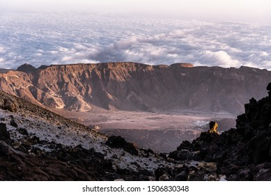 View from the top of Mount Teide Volcano surrounded by its famous Sea of clouds