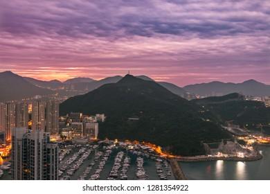 View at the top mountain of Aberdeen Harbour (Aberdeen Typhoon Shelter) and Ap Lei Chau Bridge, Hong Kong