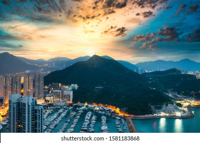 View at the top mountain of Aberdeen Typhoon Shelters seen from Yuk Kwai Shan (mount Johnston) in sunrise time