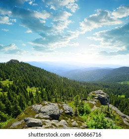 View from the top of mountain Grosser Arber in National park Bavarian forest, Germany.