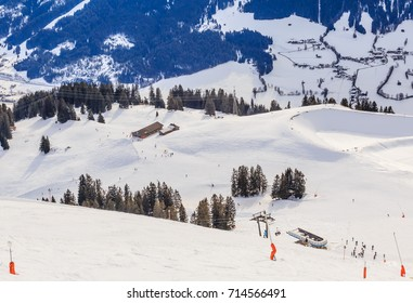 View from  the top of the mountain Hohe Salve. Ski resort  Soll, Westendorf. Tyrol, Austria
