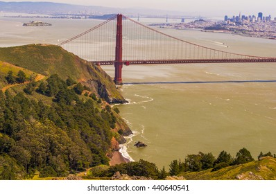 View from the top of the mountain looking over golden gate bridge and the great city of San Francisco.