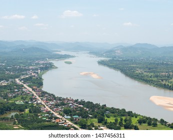 The view from the top of the mountain at Wat Pha Tak Sua, Nong Khai province, Thailand