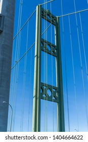 A view of the top of the Narrows Suspension Bridge in Tacoma, Wa.