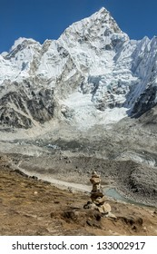 View of the top of the Nuptse and Everest from the slope of Kala Patthar - Everest region, Nepal, Himalayas
