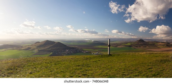 View from the top of Oblik hill. Autumn scenery in Central Bohemian Highlands, Czech Republic
