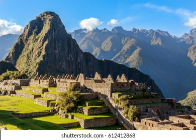 View from the top to old Inca ruins and Wayna Picchu, Machu Picchu, Urubamba provnce, Peru