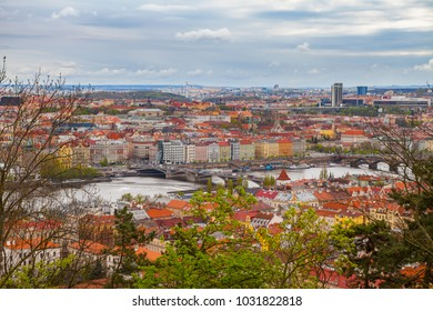 View from the top on the Prague cityscape with Vltava river and bridges