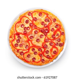 View from top on tasty pizza with pepperoni, bell pepper and lot of cheese, isolated with clipping path
