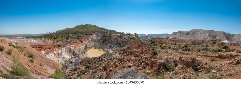 View from the top of the open exploitation mine located in the town of La Zarza, Alange, Extremadura, Spain