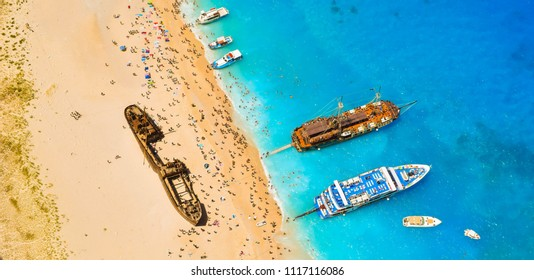 View from the top of the paradise Shipwreck Beach, Zakynthos Island, Greece.