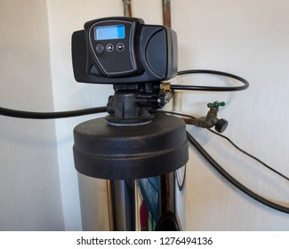 View of top part of water softener system