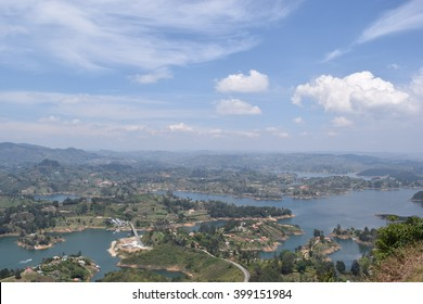 View from top of piedra del penol, Guatape Colombia