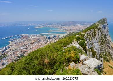 View from the top of the Rock towards La Linea de la Concepcion behind the famous Gibraltar airport runway/Rock of Gibraltar/Gibraltar, Europe