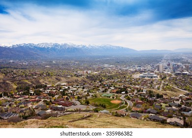 View from top of Salt Lake City with mountains
