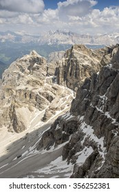 The view from the top of SASS Rigais. The Dolomites in the Alps. Europe