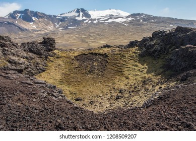 View at the top of Saxholar Crater, Iceland
