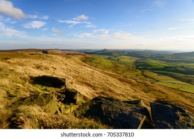 The view from the top of Shining Tor, the highest peak in Cheshire and looking out over the A537 to the distinctive peak of Shutlingsloe