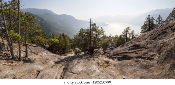 View from the top of Stawamus Chief into Squamish and Howe Sound along the Sea to Sky highway, British Columbia, Canada