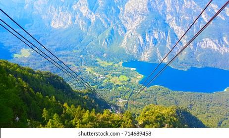 view from top vogel mountain on bohinj lake slovenia