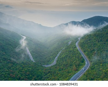 View from top,Hai Van Pass is one of the most beautiful mountain passes in Vietnam, which is the bridge connecting Danang and Lang Co Bay