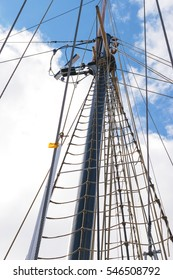 View of the Topmast and shroud on a tall ship.