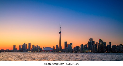 View of Toronto Cityscape during sunset taken from Toronto Central Island