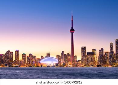 View of Toronto skyline and lake Ontario ta night from Centre Island,