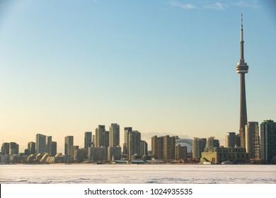 View of Toronto skyline from Ward's Island in the winter season.