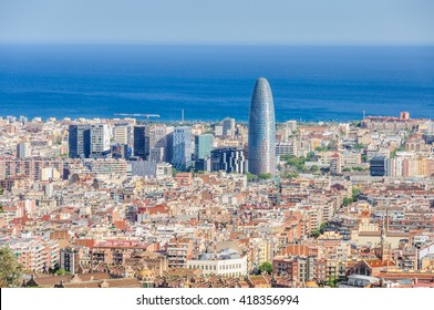 The view of Torre Agbar and surroundings from the hill of Turo del Rovira in Barcelona, Catalonia, Spain