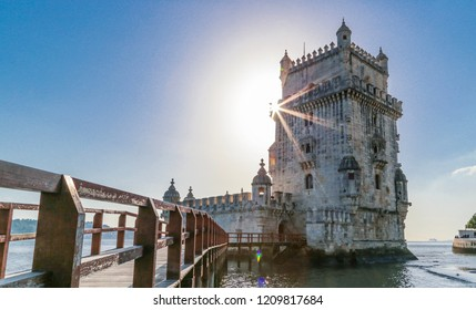 View of Torre de Belem, Lisbon, Portugal. Sunray behind Torre de Belém at Lissabon, Portugal