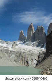 View of the Torres in Torres del Paine NP in Chile